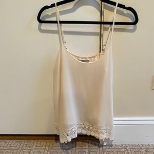 Ivory cream colored flowy tank top with crochet
